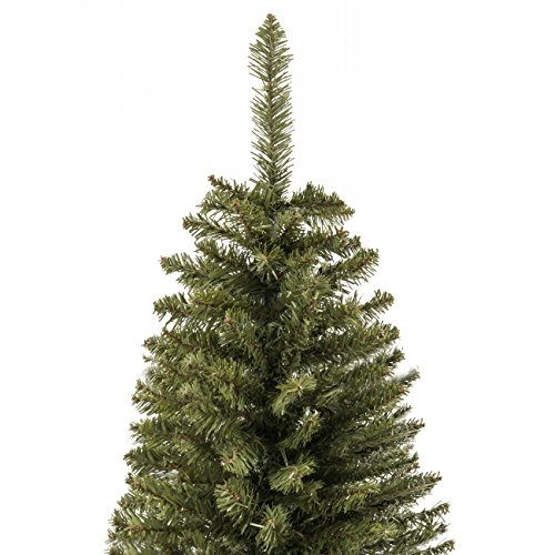 Best Choice Products 75 Foot Hinged Fir Pencil Artificial Christmas Tree WMetal Foldable Stand Easy Assembly Green 0 1