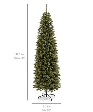 Best Choice Products 75 Foot Hinged Fir Pencil Artificial Christmas Tree WMetal Foldable Stand Easy Assembly Green 0 5 300x360