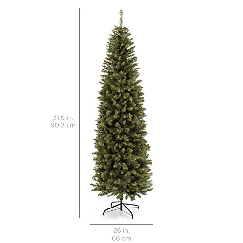 Best Choice Products 75 Foot Hinged Fir Pencil Artificial Christmas Tree WMetal Foldable Stand Easy Assembly Green 0 5