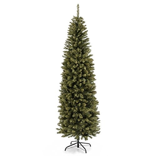 Best Choice Products 75 Foot Hinged Fir Pencil Artificial Christmas Tree WMetal Foldable Stand Easy Assembly Green 0