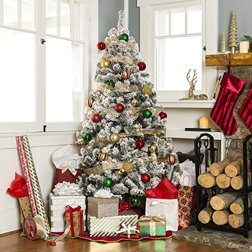 Best Choice Products 75ft Pre Lit Snow Flocked Hinged Artificial Christmas Pine Tree Holiday Decor W 550 Warm White Lights 0 0