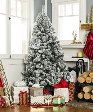 Best Choice Products 75ft Pre Lit Snow Flocked Hinged Artificial Christmas Pine Tree Holiday Decor W 550 Warm White Lights 0 2 300x360