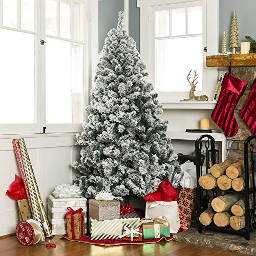 Best Choice Products 75ft Pre Lit Snow Flocked Hinged Artificial Christmas Pine Tree Holiday Decor W 550 Warm White Lights 0 2