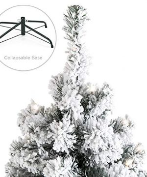 Best Choice Products 75ft Pre Lit Snow Flocked Hinged Artificial Christmas Pine Tree Holiday Decor W 550 Warm White Lights 0 3 300x360