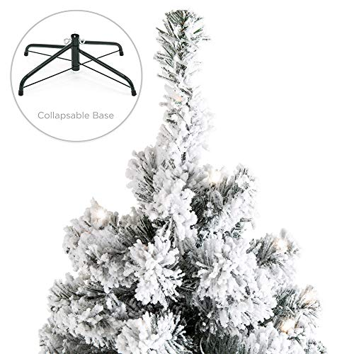 Best Choice Products 75ft Pre Lit Snow Flocked Hinged Artificial Christmas Pine Tree Holiday Decor W 550 Warm White Lights 0 3