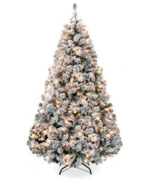 Best Choice Products 75ft Pre Lit Snow Flocked Hinged Artificial Christmas Pine Tree Holiday Decor W 550 Warm White Lights 0 300x360