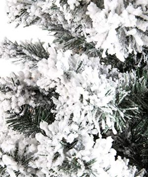 Best Choice Products 75ft Pre Lit Snow Flocked Hinged Artificial Christmas Pine Tree Holiday Decor W 550 Warm White Lights 0 4 300x360