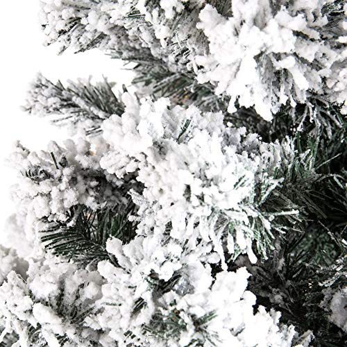 Best Choice Products 75ft Pre Lit Snow Flocked Hinged Artificial Christmas Pine Tree Holiday Decor W 550 Warm White Lights 0 4