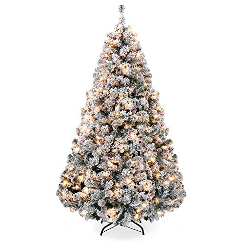 Best Choice Products 75ft Pre Lit Snow Flocked Hinged Artificial Christmas Pine Tree Holiday Decor W 550 Warm White Lights 0