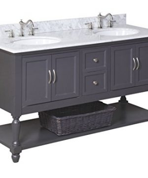 Beverly 60 Inch Double Bathroom Vanity CarraraCharcoal Gray Includes Charcoal Gray Cabinet With Soft Close Drawers Authentic Italian Carrara Marble Countertop And Two Ceramic Sinks 0 300x360