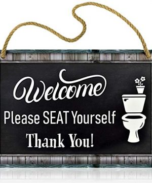 Bigtime Signs Funny Restroom Sign For Bathroom Welcome Please Seat Yourself 115 X 75 Inches Rigid PVC With Rope 0 300x360