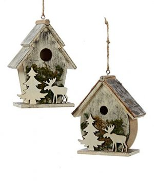 Birdhouses With Moose And Tree Moss Christmas Holiday Ornaments Set Of 2 0 300x360
