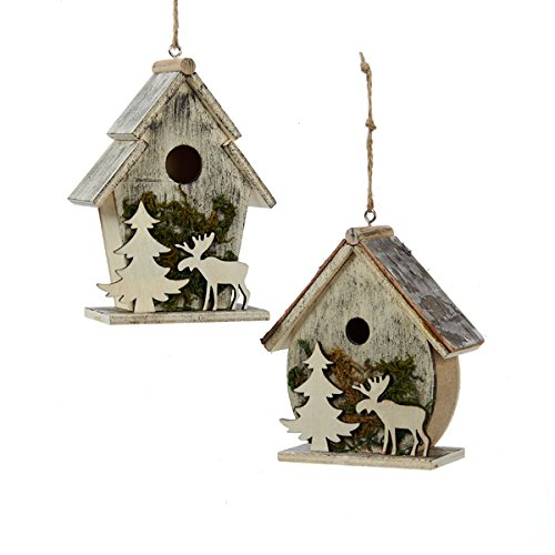 Birdhouses With Moose And Tree Moss Christmas Holiday Ornaments Set Of 2 0