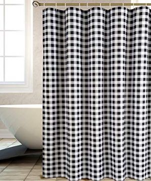 Biscaynebay Textured Fabric Shower Curtains Plaid Printed Bathroom Curtains Black And Grey 72 By 72 Inches 0 0 300x360