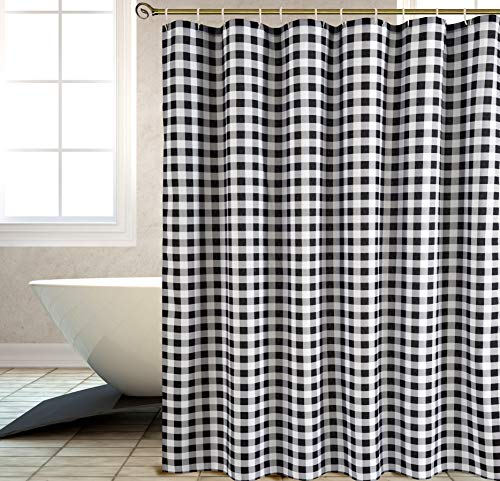 Biscaynebay Textured Fabric Shower Curtains Plaid Printed Bathroom Curtains Black And Grey 72 By 72 Inches 0 0