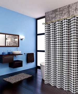 Biscaynebay Textured Fabric Shower Curtains Plaid Printed Bathroom Curtains Black And Grey 72 By 72 Inches 0 1 300x360