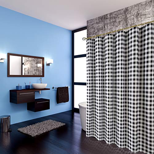 Biscaynebay Textured Fabric Shower Curtains Plaid Printed Bathroom Curtains Black And Grey 72 By 72 Inches 0 1