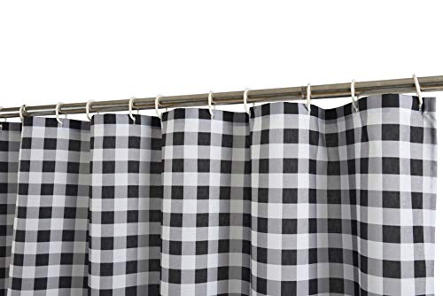 Biscaynebay Textured Fabric Shower Curtains Plaid Printed Bathroom Curtains Black And Grey 72 By 72 Inches 0 2