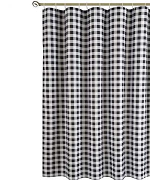 Biscaynebay Textured Fabric Shower Curtains Plaid Printed Bathroom Curtains Black And Grey 72 By 72 Inches 0 300x360