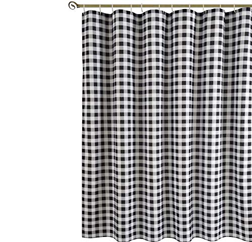 Biscaynebay Textured Fabric Shower Curtains Plaid Printed Bathroom Curtains Black And Grey 72 By 72 Inches 0