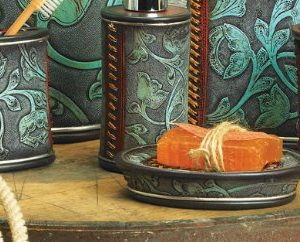 Black Forest Dcor Floral Tooled Turquoise Bath Set 3 Pcs 0 300x242