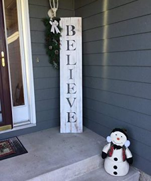 Blanche989 Distressed Christmas Believe Pallet Sign For Front Door Or Front Porch 0 300x360