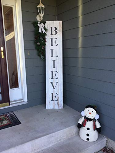 Blanche989 Distressed Christmas Believe Pallet Sign For Front Door Or Front Porch 0