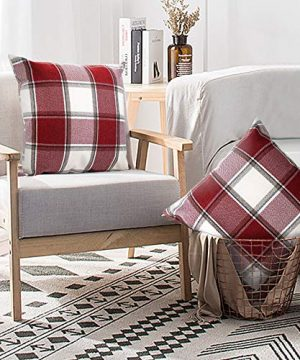 Buffalo Check Throw Pillow Covers 18x18 Cotton Line Red White Plaid Cushion Cover Holiday Decorative Throw Pillows For Couch Bed Sofa Pack Of 2 18 X 18 Inch 0 0 300x360