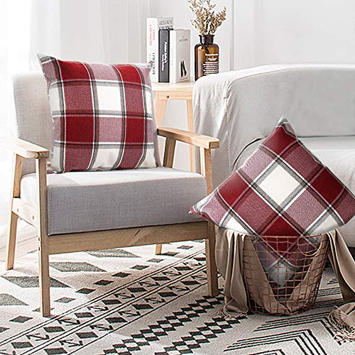 Buffalo Check Throw Pillow Covers 18x18 Cotton Line Red White Plaid Cushion Cover Holiday Decorative Throw Pillows For Couch Bed Sofa Pack Of 2 18 X 18 Inch 0 0