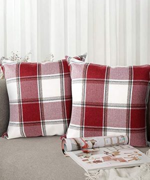 Buffalo Check Throw Pillow Covers 18x18 Cotton Line Red White Plaid Cushion Cover Holiday Decorative Throw Pillows For Couch Bed Sofa Pack Of 2 18 X 18 Inch 0 300x360