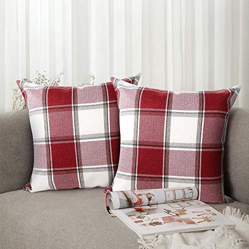 Pack of 2 Decorative Throw Pillow Covers Checkered Plaids Cotton Linen 18x18 in