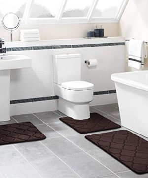 Buganda 3 Piece Memory Foam Bath Rugs Set Extra Soft Velvet Non Slip Absorbent Bath Mats Small Large Bathroom Rugs And Contour Mat Coffee 0 5 300x360