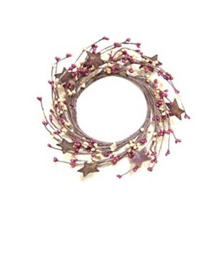 Burgundy Old Gold Pip Berry Ring Wreath Rusty Stars Country Primitive Floral Dcor 0 300x360