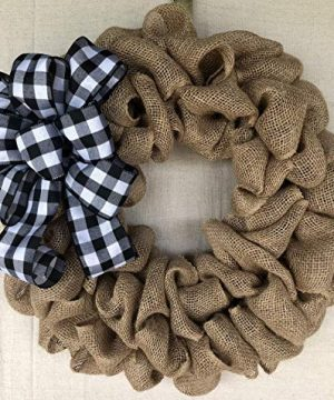 Burlap Wreath With Buffalo Plaid Bow Rustic Farmhouse Christmas Door Hanger Farmhouse Decor Everyday Wreath Burlap Bowtique 0 300x360