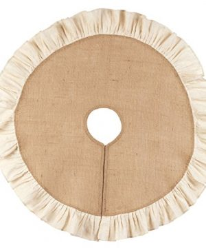 Burlap And Cream 36 Ruffle Country Tree Skirt By The Country House Collection 0 300x360