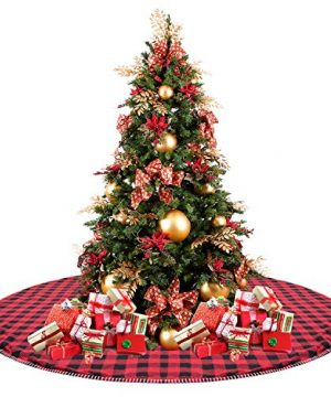 CELIVESGG 48 Christmas Tree Skirt Red And Black Buffalo Check Tree Skirt Double Layers A Fine Decorative Handicraft For Holiday Party 0 300x360