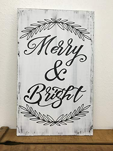 CELYCASY Merry Bright Christmas Sign Farmhouse Style Handpainted Wood Sign In Custom Colors 1125x185 In Size 0