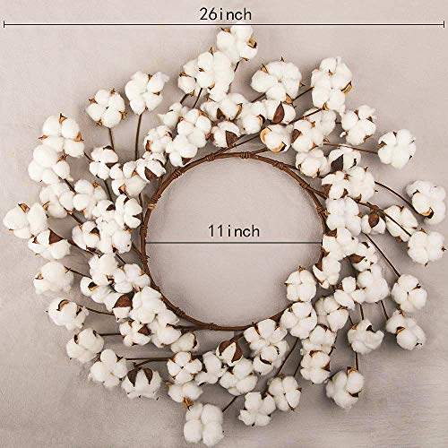 CEWOR 26 Inch Real Cotton Wreath Christmas Vintage Wreath For Front Door Festival Hanging Farmhouse Decor 0 0