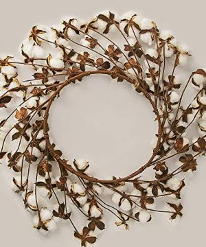 CEWOR 26 Inch Real Cotton Wreath Christmas Vintage Wreath For Front Door Festival Hanging Farmhouse Decor 0 1 300x360