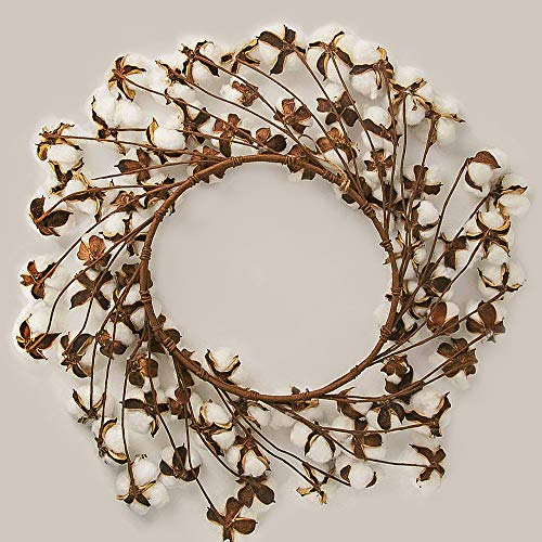 CEWOR 26 Inch Real Cotton Wreath Christmas Vintage Wreath For Front Door Festival Hanging Farmhouse Decor 0 1