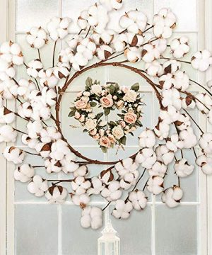 CEWOR 26 Inch Real Cotton Wreath Christmas Vintage Wreath For Front Door Festival Hanging Farmhouse Decor 0 3 300x360