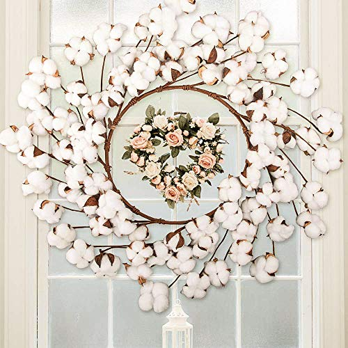 CEWOR 26 Inch Real Cotton Wreath Christmas Vintage Wreath For Front Door Festival Hanging Farmhouse Decor 0 3
