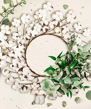 CEWOR 26 Inch Real Cotton Wreath Christmas Vintage Wreath For Front Door Festival Hanging Farmhouse Decor 0 4 300x360