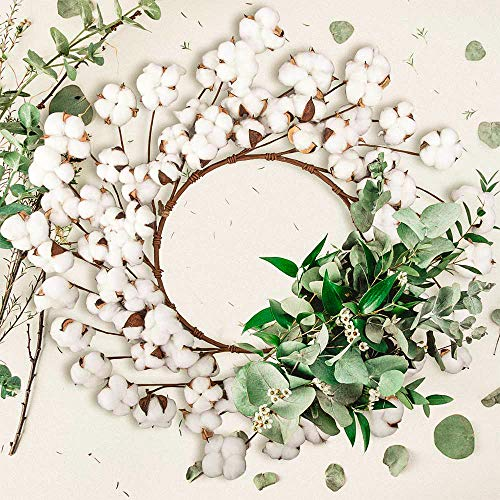 CEWOR 26 Inch Real Cotton Wreath Christmas Vintage Wreath For Front Door Festival Hanging Farmhouse Decor 0 4