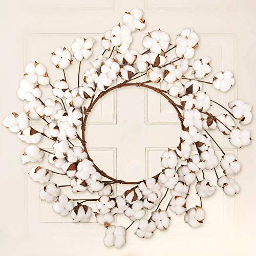 CEWOR 26 Inch Real Cotton Wreath Christmas Vintage Wreath For Front Door Festival Hanging Farmhouse Decor 0