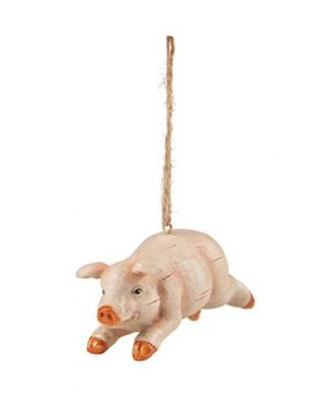 CF Home Rustic Pig Distressed Pink 4 Inch Resin Stone Christmas Hanging Ornament 0 300x360