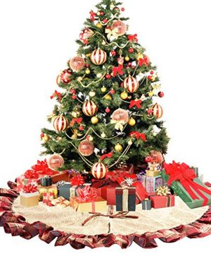 CHICHIC 48 Inch Christmas Tree Skirt Christmas Decorations Linen Burlap And Plaid Tree Skirt Ruffle Edge Large Mat Xmas Party Holiday Decorations Home Decorations Holiday Decorations Red Plaid 0 1 300x360