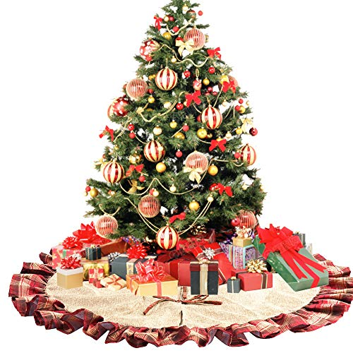 CHICHIC 48 Inch Christmas Tree Skirt Christmas Decorations Linen Burlap And Plaid Tree Skirt Ruffle Edge Large Mat Xmas Party Holiday Decorations Home Decorations Holiday Decorations Red Plaid 0 1