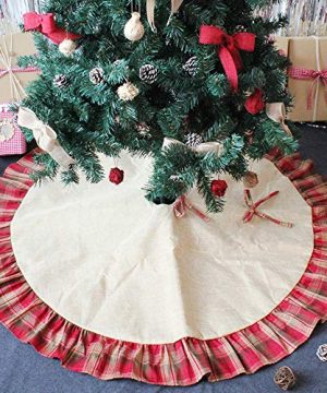CHICHIC 48 Inch Christmas Tree Skirt Christmas Decorations Linen Burlap And Plaid Tree Skirt Ruffle Edge Large Mat Xmas Party Holiday Decorations Home Decorations Holiday Decorations Red Plaid 0 2 300x360