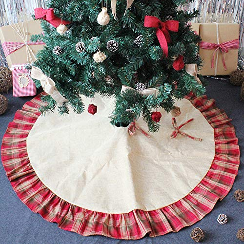 CHICHIC 48 Inch Christmas Tree Skirt Christmas Decorations Linen Burlap And Plaid Tree Skirt Ruffle Edge Large Mat Xmas Party Holiday Decorations Home Decorations Holiday Decorations Red Plaid 0 2
